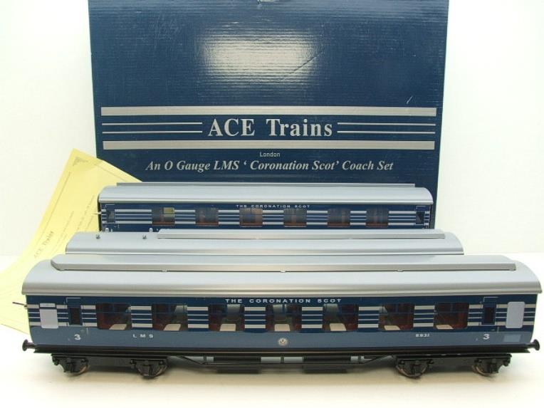Ace Trains O Gauge C20-A LMS Blue Coronation Scot x3 Coaches 2/3 Rail Set A image 20