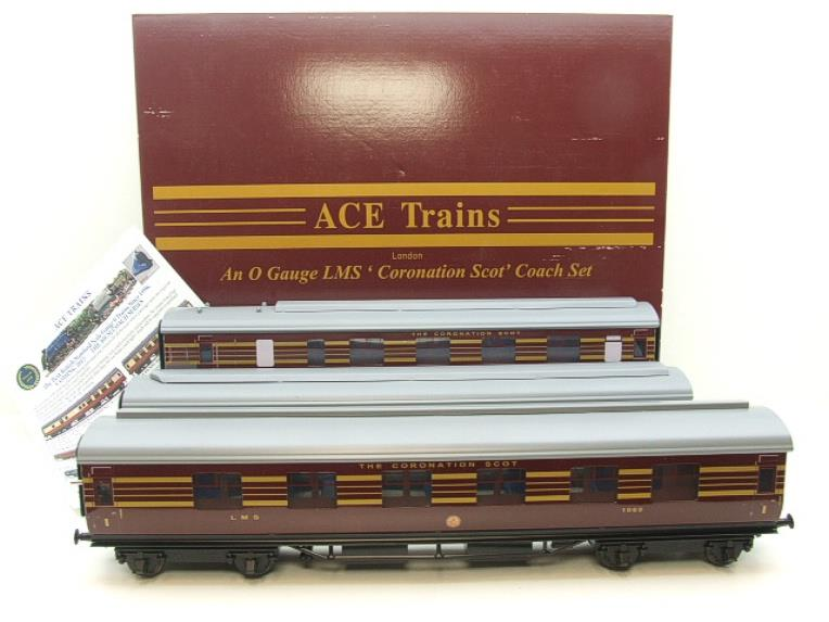 Ace Trains O Gauge C28A LMS Maroon Coronation Scot Coaches x3 Set A Bxd 2/3 Rail Int Lit image 20