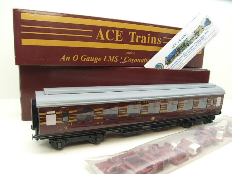 "Ace Trains O Gauge C20-03 LMS Maroon ""Coronation Scot"" Open 3rd Coach R/N 8996 Int Lit Boxed image 15"