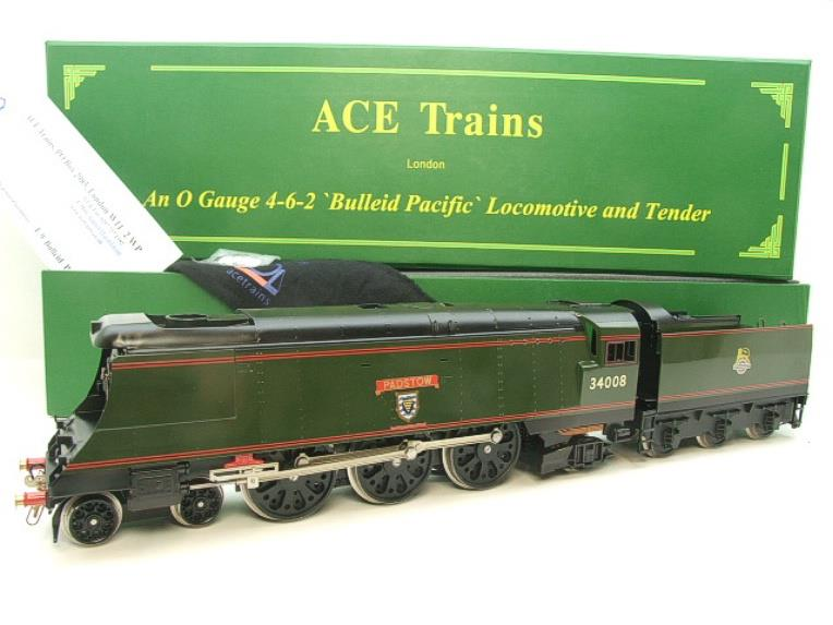 "Ace Trains O Gauge E9 Bulleid Pacific BR ""Padstow"" R/N 34008 Electric 2/3 Rail Bxd image 22"