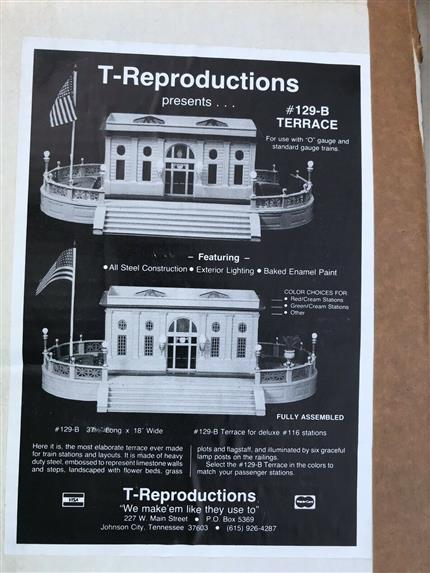 T-Reproductions 129-B, O Gauge S/Gauge Terrace Stand for Lionel & MTH 114/116 Double Stations MIB image 12
