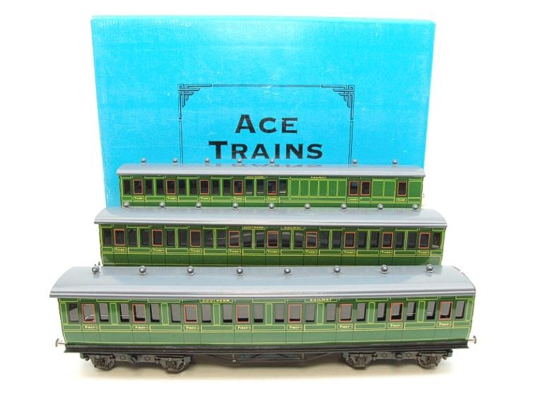 "Ace Trains O Gauge C1 Southern SR ""Southern"" Green x3 NC Passenger Coaches Set image 22"