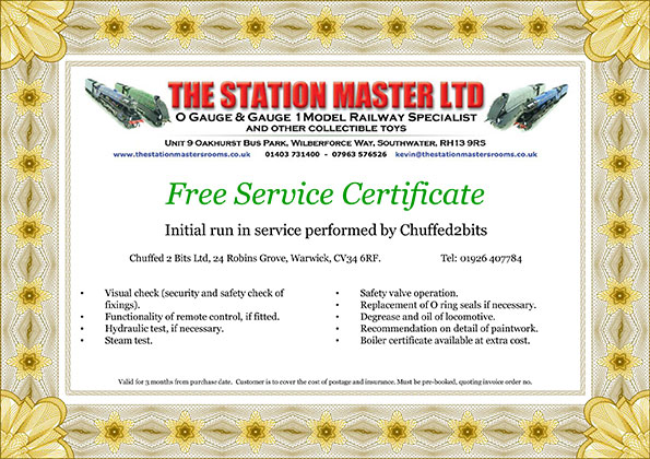 Free Run-in Service Certificate