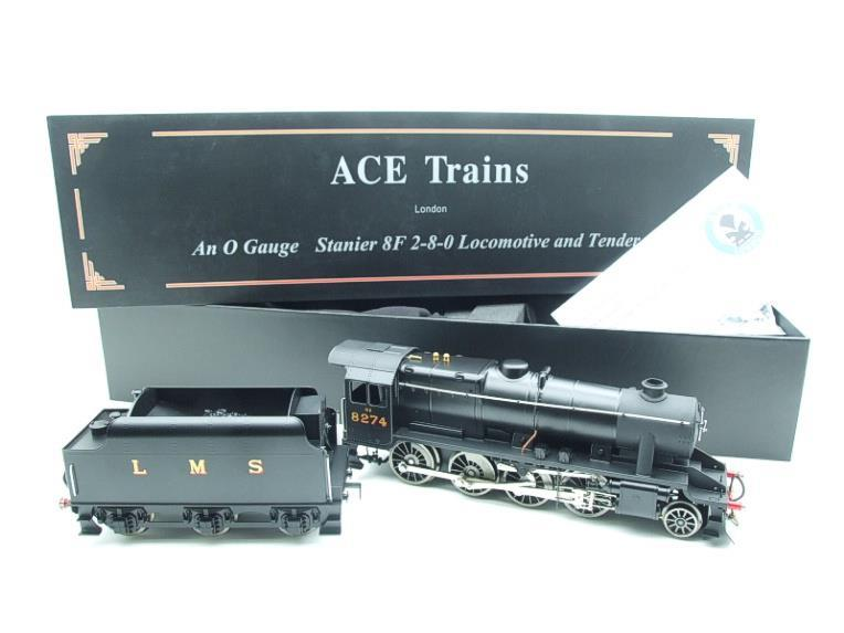 Ace Trains O Gauge E38B1, LMS Un-Lined Satin Black Class 8F, 2-8-0 Locomotive and Tender R/N 8274 image 22