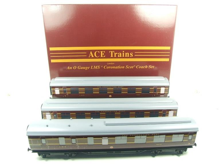 Ace Trains O Gauge C28B LMS Maroon Coronation Scot Coaches x3 Set B Bxd 2/3 Rail image 19