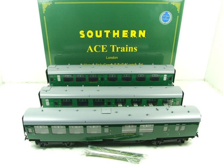 Ace Trains O Gauge C21B SR Green Bulleid Post War x3 Coaches Set B Boxed image 21