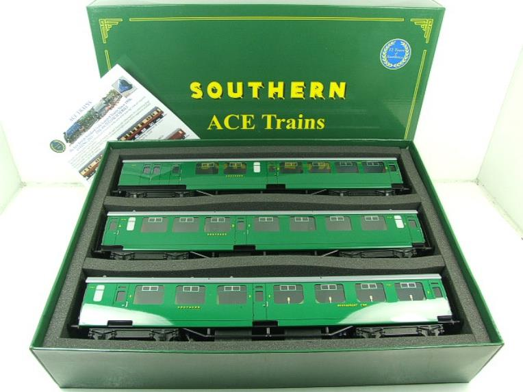 Ace Trains O Gauge C21B SR Green Bulleid Post War x3 Coaches Set B Boxed image 22