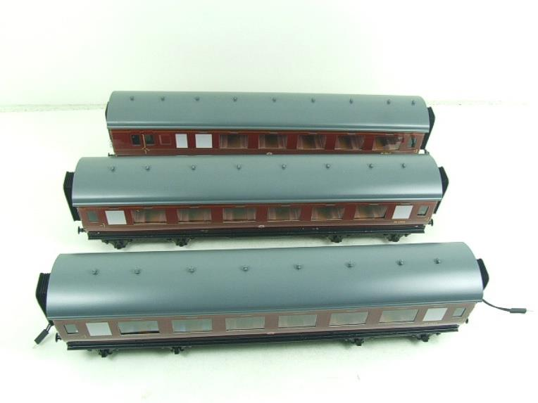 Darstaed O Gauge BR Maroon Period 2 Mainline Coaches x3 Set Bxd 2/3 Rail Set A image 12