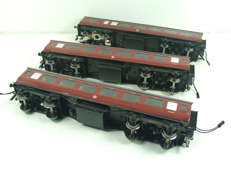 Darstaed O Gauge BR Maroon Period 2 Mainline Coaches x3 Set Bxd 2/3 Rail Set A image 16
