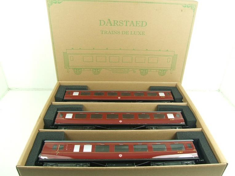 Darstaed O Gauge BR Maroon Period 2 Mainline Coaches x3 Set Bxd 2/3 Rail Set A image 18