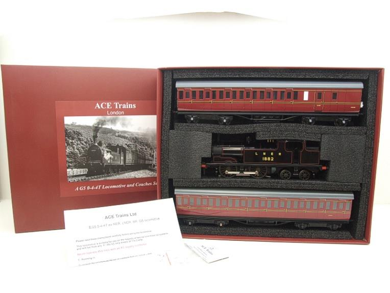 Ace Trains O Gauge E25/S-B1 LNER Black G5 Tank Loco R/N 1882 & Coaches Set Electric 2/3 Rail NEW Bxd image 22