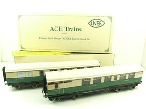Ace Trains O Gauge LNER Gresley Tourist Coaches x2 Set 3 Rail Boxed image 1