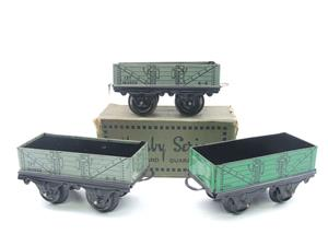 Hornby O Gauge Open Coal - Mineral Wagons x3 Set Vintage Tinplate image 1
