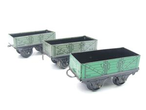 Hornby O Gauge Open Coal - Mineral Wagons x3 Set Vintage Tinplate image 3
