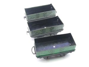 Hornby O Gauge Open Coal - Mineral Wagons x3 Set Vintage Tinplate image 7