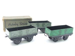 Hornby O Gauge Open Coal - Mineral Wagons x3 Set Vintage Tinplate image 10