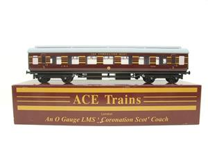 "Ace Trains O Gauge C20-03 LMS Maroon ""Coronation Scot"" Open 3rd Coach R/N 8996 Int Lit Boxed image 1"