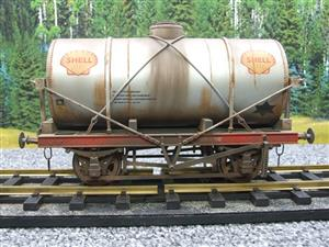 "Gauge 1 Model Co Accucraft R32-3C-14-Ton Oil ""Shell Tanker Wagon"" Professionally Weathered image 1"