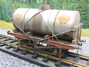 "Gauge 1 Model Co Accucraft R32-3C-14-Ton Oil ""Shell Tanker Wagon"" Professionally Weathered image 3"