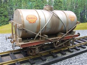 "Gauge 1 Model Co Accucraft R32-3C-14-Ton Oil ""Shell Tanker Wagon"" Professionally Weathered image 10"
