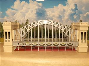 "T-Reproductions O Gauge 300 Steel Metal ""Hellgate Bridge"" Silver & Cream Boxed image 1"