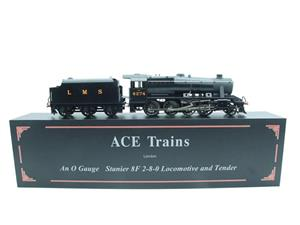 Ace Trains O Gauge E38B1, LMS Un-Lined Satin Black Class 8F, 2-8-0 Locomotive and Tender R/N 8274 image 2
