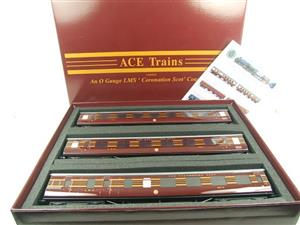 Ace Trains O Gauge C28B LMS Maroon Coronation Scot Coaches x3 Set B Bxd 2/3 Rail image 1
