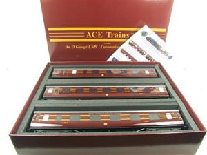 Ace Trains O Gauge C28A LMS Maroon Coronation Scot Coaches x3 Set A Bxd 2/3 Rail image 1