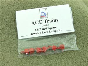 Ace Trains O Gauge LS2 Red Square Jewelled Square Loco Lamps Pack of Six Pack image 1