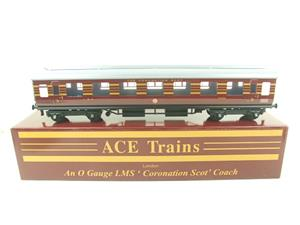 Ace Trains O Gauge C28-03 LMS Maroon Coronation Scot Open 3rd Coach Bxd 2/3 Rail image 1