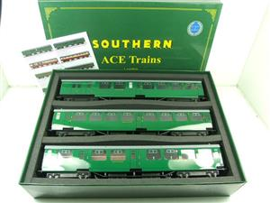Ace Trains O Gauge C21A SR Green Bulleid Post War x3 Coaches Set A Boxed image 1