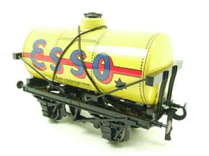 "Ace Trains O Gauge G1 Four Wheel Tinplate ""Esso"" Yellow Fuel Tanker Wagon image 3"