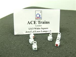 Ace Trains O Gauge LS3 White Square Jewelled Loco Lamps Pack of Six image 1