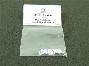 Ace Trains O Gauge LS3 White Square Jewelled Loco Lamps Pack of Six image 2