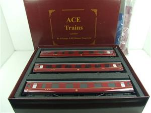 Ace Trains O Gauge C18A LMS Maroon Stainier Coaches x3 B/New Bxd 2/3 Rail Set A image 1
