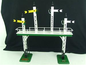 "Ace Trains O Gauge ACS/3 Signal Gantry ""Distant"" Yellow Fish Tail Signal Arms Edition Electric image 6"