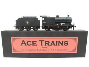 Ace Trains O Gauge E5G Fowler 4F Class 0-6-0 Loco and Tender R/N 44252 Early BR Logo Satin Black image 1