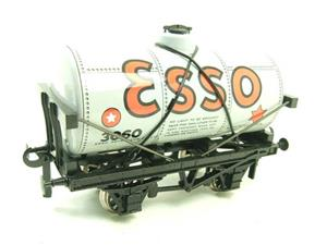 "Ace Trains O Gauge G1 Four Wheel ""Esso"" Grey Fuel Tanker Tinplate image 2"