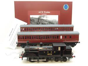 Ace Trains O Gauge E25/S-B1 LNER Black G5 Tank Loco R/N 1882 & Coaches Set Electric 2/3 Rail NEW Bxd image 1