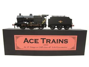 Ace Trains O Gauge E5H Fowler 4F Class 0-6-0 Loco and Tender R/N 44027 BR Post 57 Logo Satin Black image 1