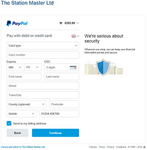 Screenshot of PayPal's details form